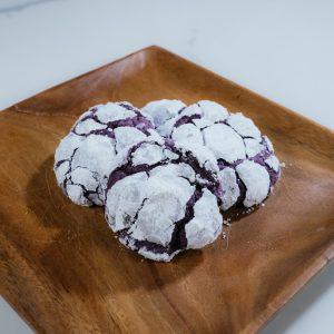 ube crinkle cookie